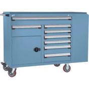 """Rousseau Metal 8 Drawer Mobile Multi-Drawer Cabinet - 62""""Wx24""""Dx45-1/2""""H Everest Blue"""