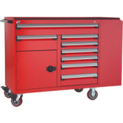 """Rousseau Metal 8 Drawer Mobile Multi-Drawer Cabinet - 62""""Wx24""""Dx45-1/2""""H Red"""