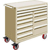 "Rousseau Metal 12 Drawer Mobile Multi-Drawer Cabinet - 48""Wx24""Dx45-1/2""H Beige"