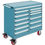 """Rousseau Metal 13 Drawer Mobile Multi-Drawer Cabinet - 48""""Wx24""""Dx45-1/2""""H Everest Blue"""