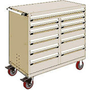 """Rousseau Metal 11 Drawer Mobile Multi-Drawer Cabinet - 48""""Wx24""""Dx45-1/2""""H Beige"""