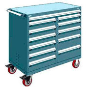 "Rousseau Metal 12 Drawer Mobile Multi-Drawer Cabinet - 48""Wx24""Dx45-1/2""H Everest Blue"