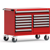 "Rousseau Metal 12 Drawer Mobile Multi-Drawer Cabinet - 48""Wx27""Dx37-1/2""H Red"