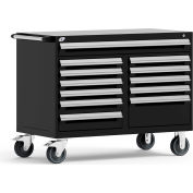 "Rousseau Metal 12 Drawer Mobile Multi-Drawer Cabinet - 48""Wx27""Dx37-1/2""H Black"