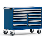 """Rousseau Metal 10 Drawer Mobile Multi-Drawer Cabinet - 48""""Wx27""""Dx37-1/2""""H Avalanche Blue"""