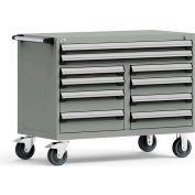 "Rousseau Metal 10 Drawer Mobile Multi-Drawer Cabinet - 48""Wx27""Dx37-1/2""H Light Gray"