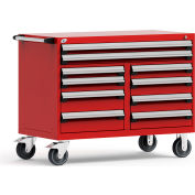 """Rousseau Metal 10 Drawer Mobile Multi-Drawer Cabinet - 48""""Wx27""""Dx37-1/2""""H Red"""
