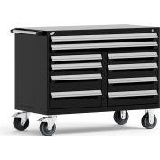 "Rousseau Metal 10 Drawer Mobile Multi-Drawer Cabinet - 48""Wx27""Dx37-1/2""H Black"