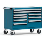 "Rousseau Metal 9 Drawer Mobile Multi-Drawer Cabinet - 48""Wx27""Dx37-1/2""H Everest Blue"