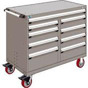 "Rousseau Metal 9 Drawer Mobile Multi-Drawer Cabinet - 48""Wx27""Dx41-1/2""H Light Gray"