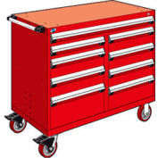 "Rousseau Metal 9 Drawer Mobile Multi-Drawer Cabinet - 48""Wx27""Dx41-1/2""H Red"