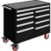 "Rousseau Metal 9 Drawer Mobile Multi-Drawer Cabinet - 48""Wx27""Dx41-1/2""H Black"