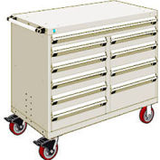 """Rousseau Metal 10 Drawer Mobile Multi-Drawer Cabinet - 48""""Wx27""""Dx41-1/2""""H Beige"""