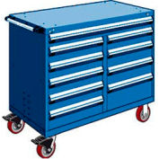 """Rousseau Metal 10 Drawer Mobile Multi-Drawer Cabinet - 48""""Wx27""""Dx41-1/2""""H Avalanche Blue"""