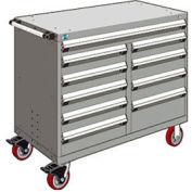 "Rousseau Metal 10 Drawer Mobile Multi-Drawer Cabinet - 48""Wx27""Dx41-1/2""H Light Gray"