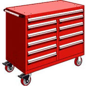 """Rousseau Metal 10 Drawer Mobile Multi-Drawer Cabinet - 48""""Wx27""""Dx41-1/2""""H Red"""