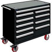 "Rousseau Metal 10 Drawer Mobile Multi-Drawer Cabinet - 48""Wx27""Dx41-1/2""H Black"