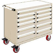 """Rousseau Metal 11 Drawer Mobile Multi-Drawer Cabinet - 48""""Wx27""""Dx41-1/2""""H Beige"""