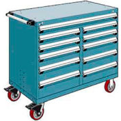 "Rousseau Metal 11 Drawer Mobile Multi-Drawer Cabinet - 48""Wx27""Dx41-1/2""H Everest Blue"