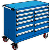 """Rousseau Metal 11 Drawer Mobile Multi-Drawer Cabinet - 48""""Wx27""""Dx41-1/2""""H Avalanche Blue"""