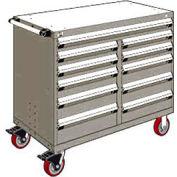 "Rousseau Metal 11 Drawer Mobile Multi-Drawer Cabinet - 48""Wx27""Dx41-1/2""H Light Gray"