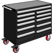"Rousseau Metal 11 Drawer Mobile Multi-Drawer Cabinet - 48""Wx27""Dx41-1/2""H Black"