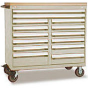 "Rousseau Metal 14 Drawer Mobile Multi-Drawer Cabinet - 48""Wx27""Dx45-1/2""H Beige"