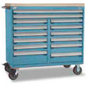 """Rousseau Metal 14 Drawer Mobile Multi-Drawer Cabinet - 48""""Wx27""""Dx45-1/2""""H Everest Blue"""