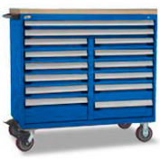 """Rousseau Metal 14 Drawer Mobile Multi-Drawer Cabinet - 48""""Wx27""""Dx45-1/2""""H Avalanche Blue"""