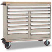 "Rousseau Metal 14 Drawer Mobile Multi-Drawer Cabinet - 48""Wx27""Dx45-1/2""H Light Gray"