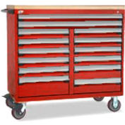 """Rousseau Metal 14 Drawer Mobile Multi-Drawer Cabinet - 48""""Wx27""""Dx45-1/2""""H Red"""