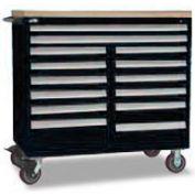 "Rousseau Metal 14 Drawer Mobile Multi-Drawer Cabinet - 48""Wx27""Dx45-1/2""H Black"