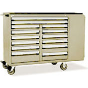 """Rousseau Metal 14 Drawer Mobile Multi-Drawer Cabinet - 62""""Wx27""""Dx45-1/2""""H Beige"""