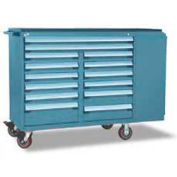 """Rousseau Metal 14 Drawer Mobile Multi-Drawer Cabinet - 62""""Wx27""""Dx45-1/2""""H Everest Blue"""