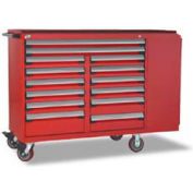 """Rousseau Metal 14 Drawer Mobile Multi-Drawer Cabinet - 62""""Wx27""""Dx45-1/2""""H Red"""