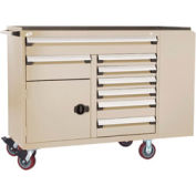 """Rousseau Metal 8 Drawer Mobile Multi-Drawer Cabinet - 62""""Wx27""""Dx45-1/2""""H Beige"""