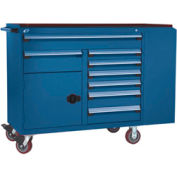 """Rousseau Metal 8 Drawer Mobile Multi-Drawer Cabinet - 62""""Wx27""""Dx45-1/2""""H Avalanche Blue"""