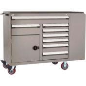 "Rousseau Metal 8 Drawer Mobile Multi-Drawer Cabinet - 62""Wx27""Dx45-1/2""H Light Gray"