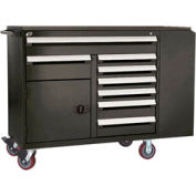 "Rousseau Metal 8 Drawer Mobile Multi-Drawer Cabinet - 62""Wx27""Dx45-1/2""H Black"