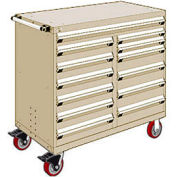 """Rousseau Metal 13 Drawer Mobile Multi-Drawer Cabinet - 48""""Wx27""""Dx45-1/2""""H Beige"""