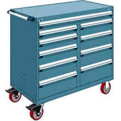 "Rousseau Metal 10 Drawer Mobile Multi-Drawer Cabinet - 48""Wx27""Dx45-1/2""H Everest Blue"