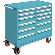 "Rousseau Metal 11 Drawer Mobile Multi-Drawer Cabinet - 48""Wx27""Dx45-1/2""H Everest Blue"