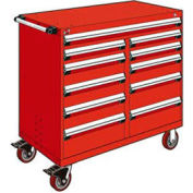 "Rousseau Metal 11 Drawer Mobile Multi-Drawer Cabinet - 48""Wx27""Dx45-1/2""H Red"
