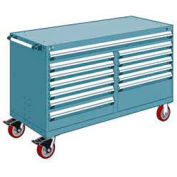 """Rousseau Metal 12 Drawer Mobile Multi-Drawer Cabinet - 60""""Wx24""""Dx37-1/2""""H Everest Blue"""