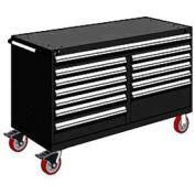 "Rousseau Metal 12 Drawer Mobile Multi-Drawer Cabinet - 60""Wx24""Dx37-1/2""H Black"