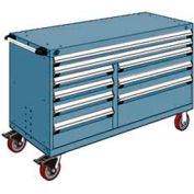 "Rousseau Metal 9 Drawer Mobile Multi-Drawer Cabinet - 60""Wx24""Dx37-1/2""H Everest Blue"