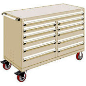 """Rousseau Metal 11 Drawer Mobile Multi-Drawer Cabinet - 60""""Wx24""""Dx41-1/2""""H Beige"""