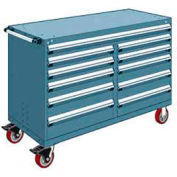 """Rousseau Metal 11 Drawer Mobile Multi-Drawer Cabinet - 60""""Wx24""""Dx41-1/2""""H Everest Blue"""