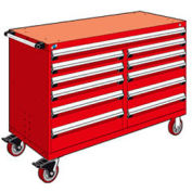 """Rousseau Metal 11 Drawer Mobile Multi-Drawer Cabinet - 60""""Wx24""""Dx41-1/2""""H Red"""