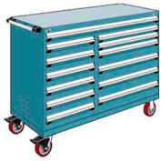 """Rousseau Metal 13 Drawer Mobile Multi-Drawer Cabinet - 60""""Wx24""""Dx45-1/2""""H Everest Blue"""
